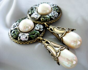Floral and Pearl Drop Earrings, Stamped Metal, Antique Brass, Chunky, Clip on Earrings, 1980s