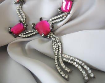 Rhinestone Necklace, Fuschia Pink, Gun Metal, Faux Stones, Cascading, Diva Necklace, Drag Queen, Re-invented Jewelry, Drop Pendant