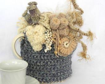 OOAK Crochet Tea Cosy with Coral Reef motifs, Tea Pot Cosy, Aussie Tea Cosy, under the sea tea cosy, coral reef Tea Cozy