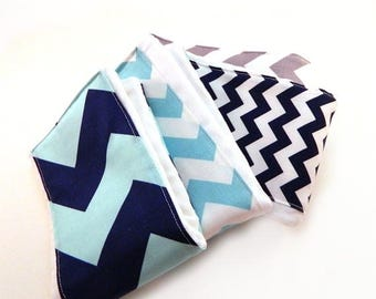 SALE Chevron Burp Cloths Boy - Aqua Navy Blue Gray- Set of 4 / Baby Shower Gift