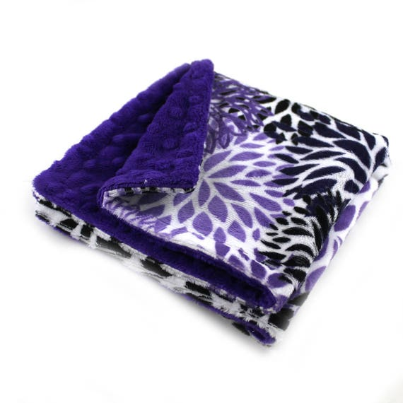 Personalized Baby Blanket Baby Lovey Blanket Floral Purple Minky Baby Blanket Flowers Blanket Mini Baby Blanket Security Blanket Burp Cloth