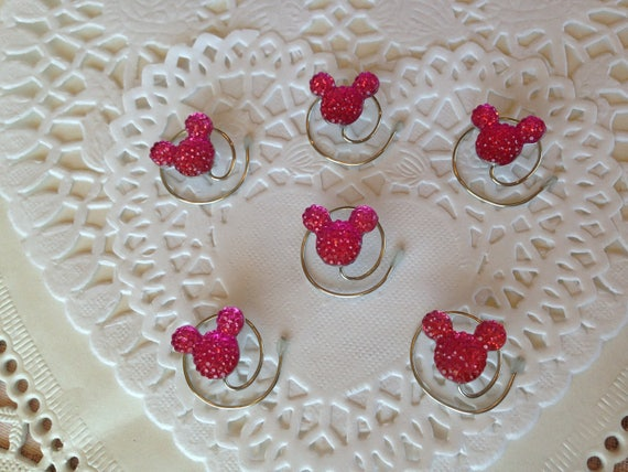 6 Mickey Mouse Hair Swirls-Disney Flower Girl-Cinderella Gift- Hair Coils-Bright Pink Hidden Mickeys