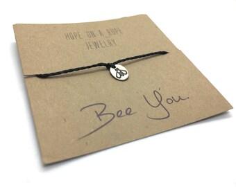 Bee Bracelet - Sterling Silver Bee Bracelet - Bee Charm Bracelet - Bumble Bee Jewelry - Be Yourself Bracelet -  Cord Bracelet - Simple