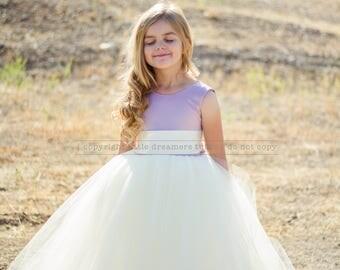 NEW! The Juliet Dress in Dusty Lavender and Light Ivory - Flower Girl Tutu Dress
