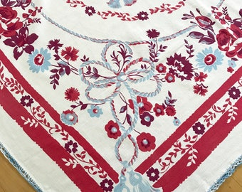 Vintage Tablecloth Blue Red Floral Picnic Table Cloth Flowers Rope Tassels Square Table Cloth