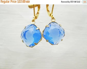 XMAS in JULY SALE Vintage Chalecedony Sky Blue Glass Earrings, 12 mm square cushion