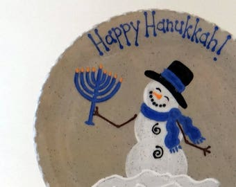 Hanukkah Plate - Personalized Snowman Plate - Snowman Menorah Plate - Hanukkah Cookie Plate - Chanukkah Snack Plate - Holiday Keepsake Dish
