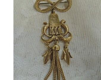 Vintage Egyptian Style Brooch, Snake Brooch, Tassel Brooch, Gold Tone Brooch