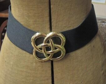 Bill Blass Stretch Belt, Bill Blass Cinch Belt, Black And Gold Cinch Belt