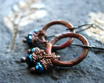 ON SALE Copper earrings hammered rustic circle mystic glass beads fire kissed patina  - The Witching Hour