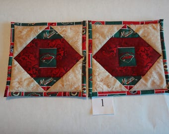 Minnesota Wild quilted pot holders pair #1