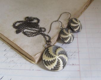Celluloid Button Jewelry Set OOAK