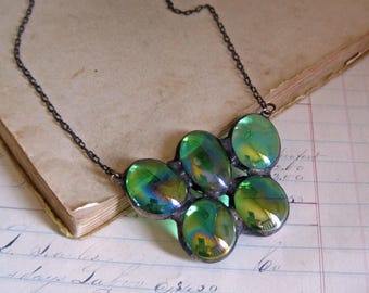 Green Iridescent Nugget Bib Necklace, Stained Glass Jewelry