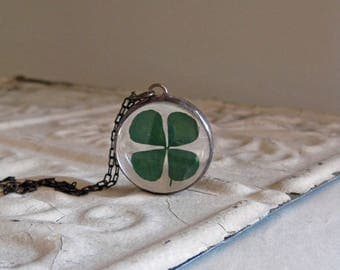 Four Leaf Clover Pressed Flower Necklace, Good Luck, St Patrick's Day Jewelry