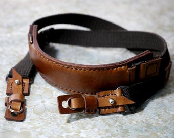 Personalize Leather Camera Strap Artisan Leather camera Strap Custom Leather Camera Strap in Dark Brown and Tan color