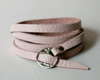 Pastel Pink Leather Cuff Leather Bracelet Wrap Leather Bracelet