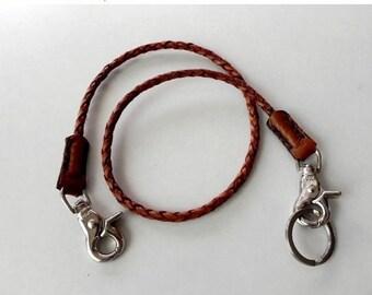 Tan Braid Leather Lanyard Leather Key Ring Leather key Lanyard with Metal Hook and Key Ring
