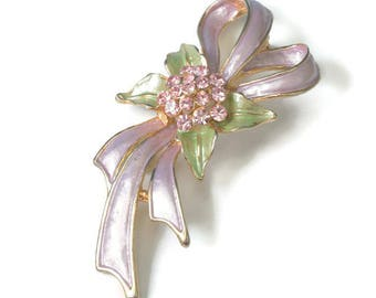 Enameled Lavender Bow Brooch Lavender Rhinestones Green Accents Vintage