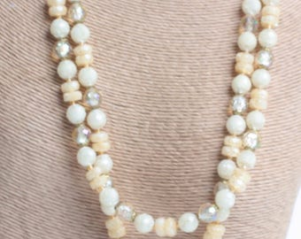 Pale Yellow Frosted White AB Clear Bead Necklace Two Strands West Germany Vintage