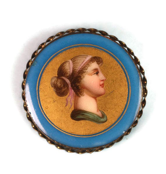 Victorian Woman Painted Porcelain Brooch Gold Filled Frame Antique
