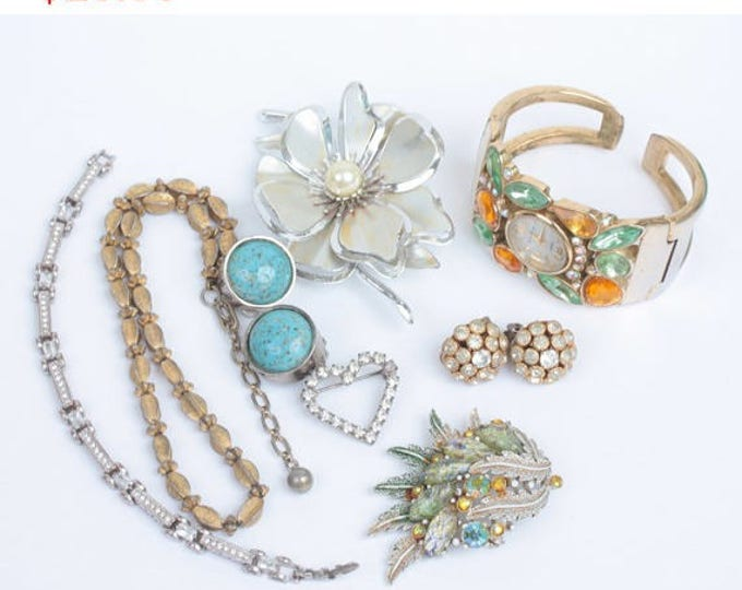 Repair Craft Jewelry Lot 8 Pieces Cuff Watch Earrings Bracelet Necklace Brooches