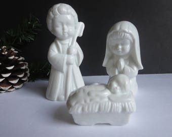 Vintage Children Holy Family Set- White Porcelain Nativity Baby Jesus, Virgin Mary and Saint Joseph Figurines - Colonial Candle Taiwan