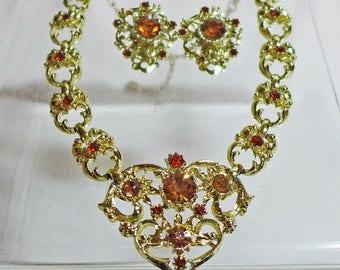 Sale 15% Designer Coro 3 pc Set Necklace Earrings Rhinestones Topaz Gold Marked Signed