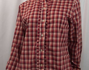 1970s PICKWICK Cotton Blend Red White Gray Plaid Ruffle Neckline Cuffs Vintage Ladies Hipster Blouse Size Large