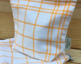 Vintage Linen Sandwich/Snack Bags with Food Safe Liner (1Bag) Yellow Grid