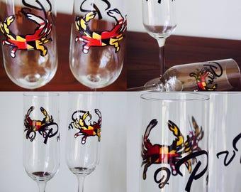 One Annapolis Maryland Pride Chesapeake Crab Monogrammed Maryland State Crab Flag Wedding Champange Stemmed Glassware
