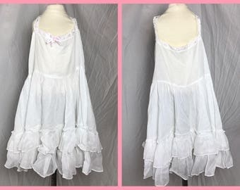 1950s Little Girls Petticoat Slip with Double Ruffle Hem by Shur Seam Styled by Jessie - Size 6 8