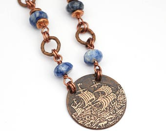 """Copper ship necklace with blue sodalite beads, etched metal, 19 1/2"""" long"""