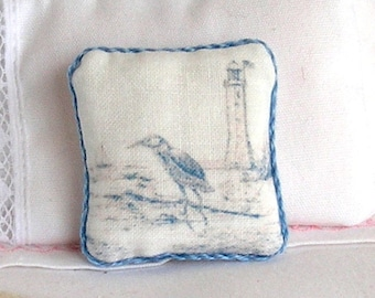 1:12 Pillow - Sandpiper and Lighthouse - Handmade Dollhouse Scale Miniature - Shabby Cottage Chic *Free Shipping*