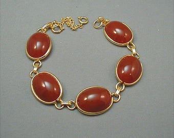 Vintage Carnelian Cabochon Link Bracelet