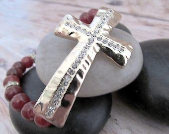 Cross Bracelet - Gold Cross Bracelet - Womens Boho Gemstone Bracelet - Gemstone Stretch Bracelet - Bohemian Gemstone Bracelet - Red Gemstone