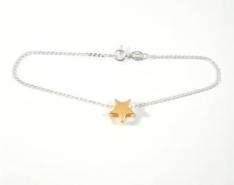 Sterling silver bracelet with 24k gold plated sterling silver star