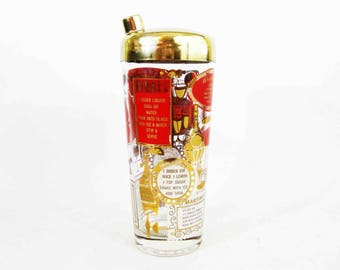 Vintage Glass Cocktail Shaker with Nine Cocktail Recipes. Circa 1960's.