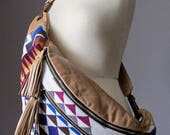 Hippie cross body bag, Leather handbag, Wool Leather crossbody bag, Hobo slouchy bag, Bum bag, Leather shoulder bag,cotton lined leather bag