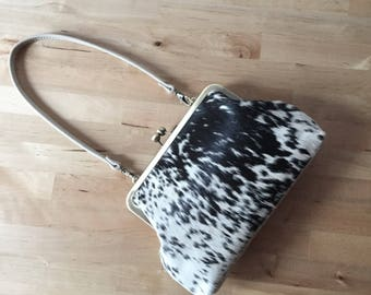 Dalmatian LOVE, Spotted Cowhide clutch, hair on hide bag, calf hair bag, leather clutch with strap, kiss lock frame purse, fur clutch