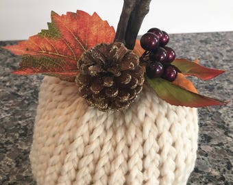 Cream knit pumpkin decoration, fall decor, halloween,  pumpkin decor, thanksgiving decoration, table decoration, thanksgiving table decor