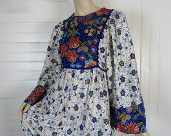 70s Cotton Dress / Caftan in Batik Print- 1970s Hippie / Festival- Empire Waist, Bell Sleeves- Floral Print- Blue & White- Small