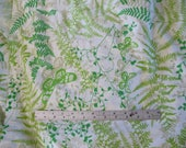 Vintage VERA Neumann Flat Sheet QUEEN Size Green Fern Butterflies Burlington Percale Fabric