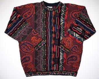 Genuine COOGI Australia Mens L 80s Sweater Mercerised Cotton, Mens Coogi Multicolor Deep Rich Colorful Paisley Stripe, 8 Different Colors