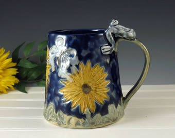 Large Cup, Pottery Cup, Tankard, Beer Stein, Handmade Blue Pottery Mug, Sunflower, Butterflies, Frog Mug,Ceramic Coffee Cup, 20 oz