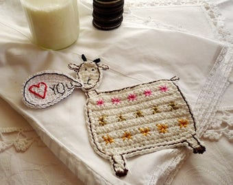 Personalized Coaster - Goat Coaster - Goat Gift - Personalized Gift - Farm Gifts - Crochet Coaster - Everyday Gift - Gift for Farmers