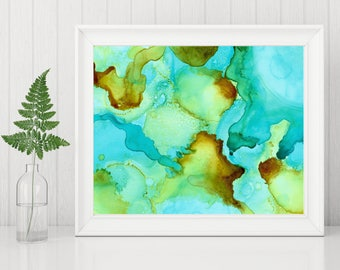Fluid Art Print, Abstract Printable, Abstract Painting Print, Alcohol Ink Painting, 8x10 Print, 8 x 10 Printable, turquoise yellow brown