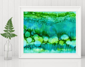Green Abstract Art Print, Abstract Printable, Abstract Painting Print, Alcohol Ink Painting, 8x10 Print Modern Decor, underwater turquoise