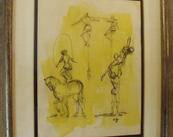 Vintage Mid Century Ink Drawing Circus Listed Artist Jaslow