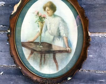 Antique Print picture Edwaridian Victorian Lady with Vase of Flowers