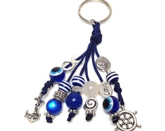 Evil eye navy keyring - Rudder - Anchor sailing - protection - Evil eye keychain - Greece - Car accessories - Lucky amulet